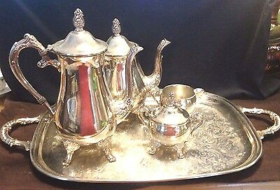 Beautiful Alvin By Gorham Vintage Silver Plate Coffee And Tea Set With Tray