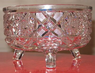 American Brilliant Cut Glass Crystal Chrysanthemum pattern legged Bowl