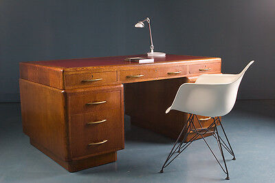 Quality British Industrial Oak Art Deco Desk 1930/40s