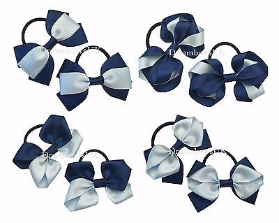 Navy blue and baby blue bows on bobbles or clips, girls school hair accessories