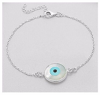 925 Sterling Silver & White Mother Of Pearl Evil Eye Chain Bracelet Adjustable