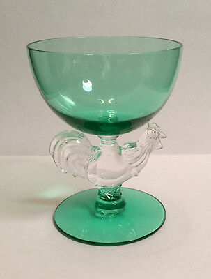 "MORGANTOWN CHANTICLEER ROOSTER COCKTAIL GLASS, GREEN COLOR  3-7/8"" x 3"""