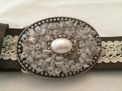 "Girl's Belt, 35"" Brown & White With 3 1/4"" Wide Buckle,""Macrame"",jewel type look"