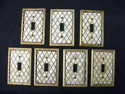 Lot of 7 Vintage Hollywood Regency Diamond Lattice Open Cut Switch Plate Covers