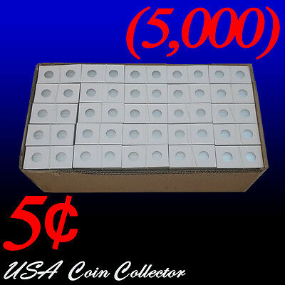 (5000) Nickel Size 2x2 Mylar Cardboard Coin Flips for Storage & Display | 5 Cent