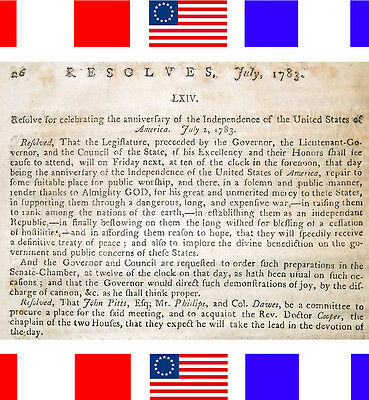 1783 FOURTH 4TH OF JULY DECLARED HOLIDAY Antique Rev Revolutionary War Patriotic