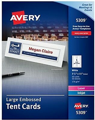 Avery large tent card embossed 5309 2000 picclick avery white laser and ink jet 3 12 x 11 inch tent cards 50 saigontimesfo