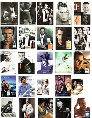 23~MEN'S COLOGNE ADS~Magazine clippings~w/SCENT SAMPLE~Designer~Celebrity Scents