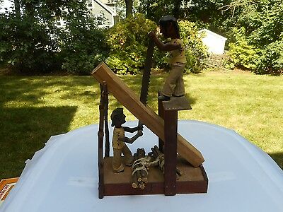 Amazing Hand Carved Wood Mechanical Wood Sawing Men Works!!Look!!