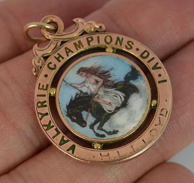 Edwardian 9ct Rose Gold & Enamelled Watch Fob Football Medal / Pendant t0889