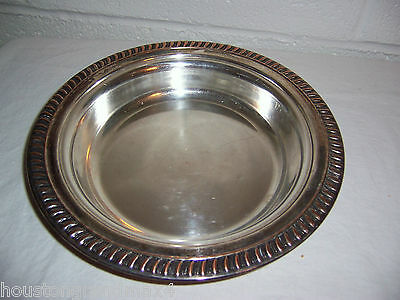 Round Serving Tray Dish Silver on copper with 3 trade marks vintage 9.75