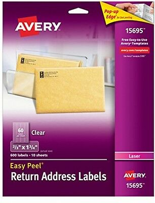 2 Pack Avery Clear Easy Peel Return Address Labels 12 X 1 34 Of