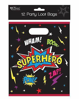 Pack of 12 Children's Birthday Party Superhero Loot Bags - Buy More for Less!