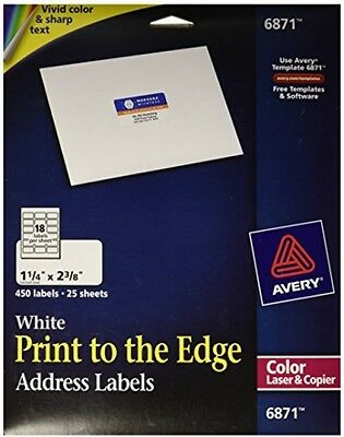 Avery White Laser Labels For Color Printing 1 4 X 2