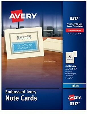 Avery Ink Jet Embossed Note Cards, 4-1/4' X 5-1/2, Ivory, 60 Cards and (8317)