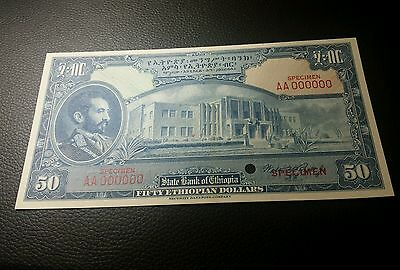 50 dollars Specimen  1945 color Trail from Ethiopia unc
