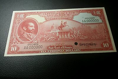 10 dollars  Specimen  1945 color Trail from Ethiopia unc