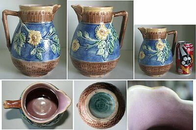Pretty/Old Majolica ETRUSCAN Butterfly Rim Pitcher, Large, Nice Cobalt Color