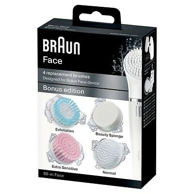 Braun Face 80-m 4 Replacement Brushes for Braun Face Bonus Edition NEW