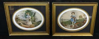 Antique Pair of Watercolor Portrait Paintings Young Girls Probably Sisters