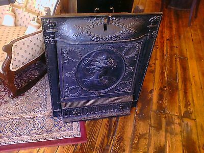 Complete Cast Iron Fireplace unit with  summer cover and firebox. RARE