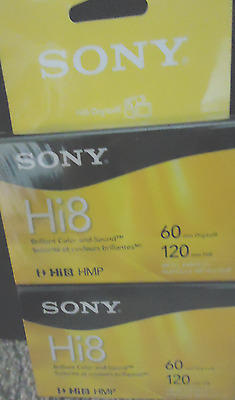 New Sealed 2 Pack Sony P6120HMPR Digital8 / Hi8 8mm Cassette Tapes HMP 60 / 120