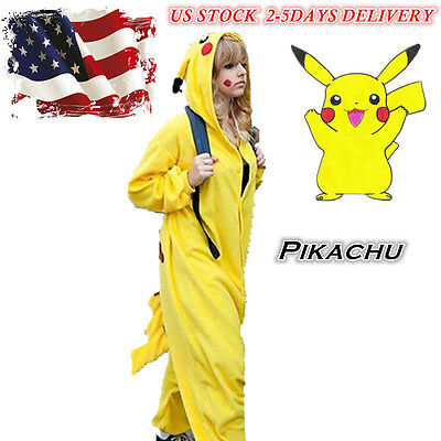 Pikachu Kigurumi Fancy Dress Animal Pajamas Women Cosplay Costume Sleepwear