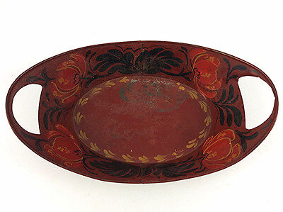 Antique tin red toleware bread tray 19th c tole painted ware AAFA
