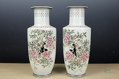 Beautiful  Fine Chinese A pair Famille Rose porcelain Vase