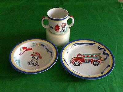 Tiffany & Co Fire Station Baby China 3 piece Set Plate,cup, Bowl