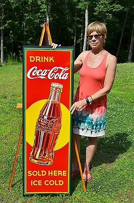 VINTAGE SCARCE 1930's RARE COCA COLA SODA TALL BOTTLE SIGN UNFINDABLE
