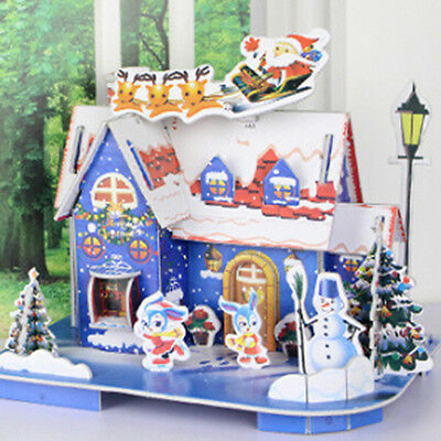 3D Puzzle Christmas House Paper Model Kids Educational Toys Xmas Gift Blue PF