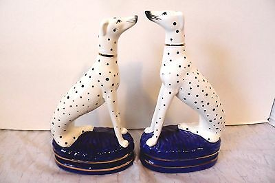 Pair of Victorian Style Dalmatian Dog Figurines Contemporary Staffordshire