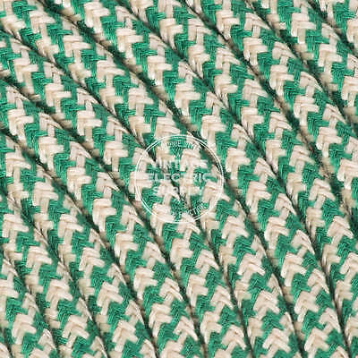 Sand & Green Houndstooth Cloth Covered Electrical Wire - Raw Yarn Fabric Wire