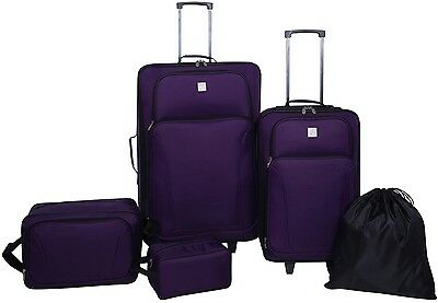 NEW Protege 5-Piece Luggage Carry On Set Rolling Wheeled Travel Suitcase Purple