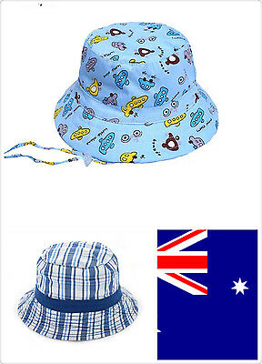 Sun hat for Infant Toddler Children's Boy cotton blue car check 0- 1year old