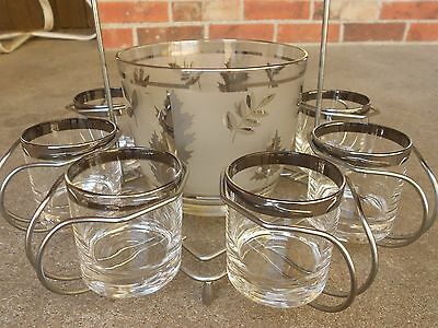 Mid Century 8 High Ball Glasses w Ice Bucket Metal Rack Carrier BarWare Platinum
