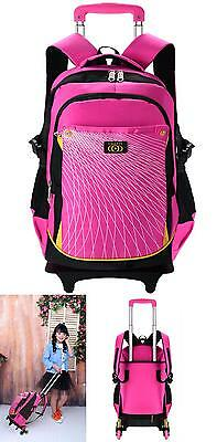 Coofit Rolling Backpack For Girls Kids School Backpack With 6 Wheels (Large, Pin