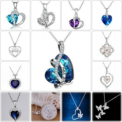 Fashion 925 sterling silver crystal heart pendant necklace chain women jewelry