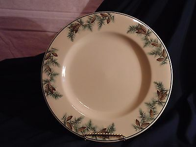 """Syracuse China SY117 12"""" Round Platter Serving Plate Pine Cones & Needles Winter"""