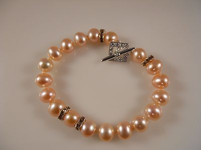 AAA Pink Round Freshwater Pearl Bracelet With Stone Setting 925 Silver Clasp