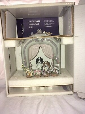 "Lladro figurine, ""Please Come Home""  Adorable dogs wait at window."