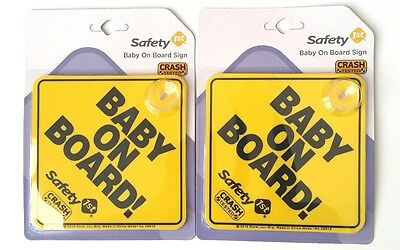 TWO BABY ON BOARD Signs! Safety 1st Yellow with Suction Cup, BRAND NEW!
