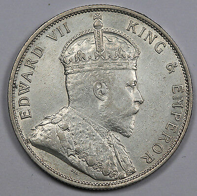 STRAITS SETTLEMENTS 1903 50 CENTS Silver Coin King Edward VII KM#23 XF
