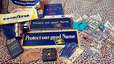 Two Vintage Goodyear Signs and Paraphernalia