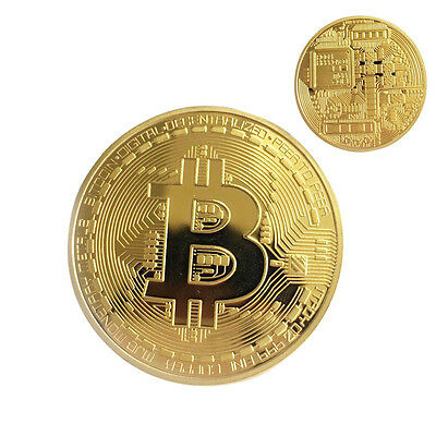 1Pc Plated Bitcoin Coin Collectible Physical BTC Gold Color Art Collection Gift