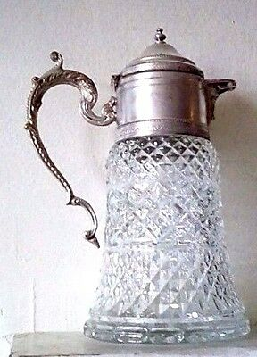 Beautiful Silver Plated  Glass Vintage Claret Jug  Decanter