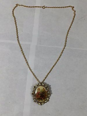 Vintage Gold Tone Floral Cameo Style Rhinestone Necklace Brooch Pin