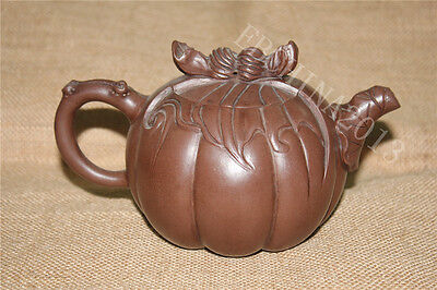"""7"""" Marked Chinese Yi Xing Zisha Hand-carved Wax Gourd Statue Teapot Tea Kettle"""