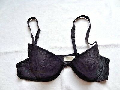 Vintage WonderBra Black Lace Padded 38B Bra Underwire w Push Up Pockets
